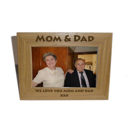 Mom & Dad Wooden Photo frame 6 x 4 - Personalise this frame - Free Engraving - Please email glamgifts50@yahoo co uk
