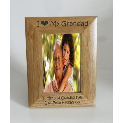 Grandad Photo Frame 4 x 6 - I heart-Love My Grandad 4 x 6 Photo Frame - Free Engraving