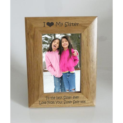 Sister Photo Frame 4 x 6 - I heart-Love My Sister 4 x 6 Photo Frame - Free Engraving