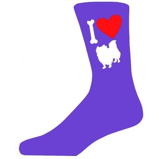 Purple Ladies Novelty Pekingese Socks- I Love My Dog Socks Luxury Cotton Novelty Socks Adult size UK 5-12 Euro 39-49