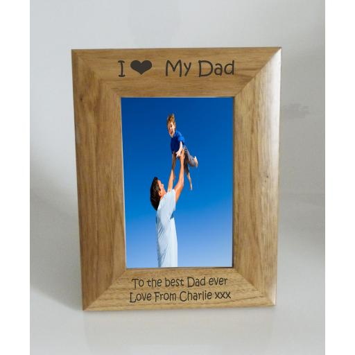 Dad Photo Frame 4 x 6 - I heart-Love My Dad 4 x 6 Photo Frame - Free Engraving