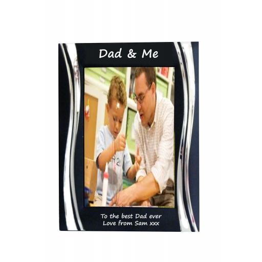 Dad & Me Black Metal 4 x 6 Frame - Personalise this frame - Free Engraving