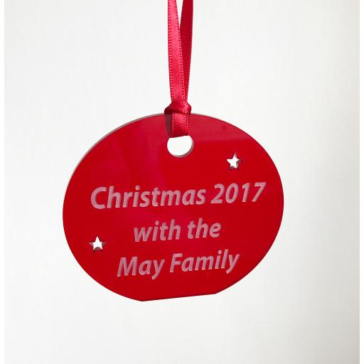Red Acrylic Hanging Circle - Christmas Tree / Home Decor- Free Personalisation
