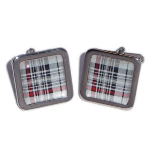 Tartan cufflinks - Red, Black & White