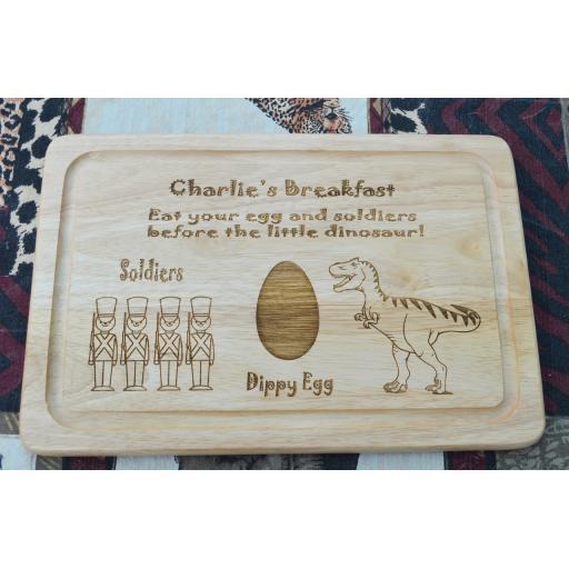 Breakfast Board - Personalised Dinosaur & Soldiers Breakfast Plate - Free Engraving