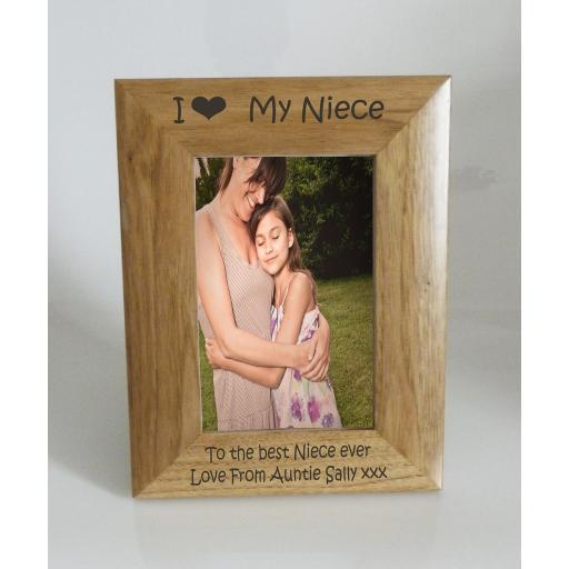 Niece Photo Frame 4 x 6 - I heart-Love My Niece 4 x 6 Photo Frame - Free Engraving