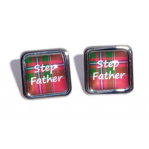 Stepfather Red Tartan Square Wedding Cufflinks
