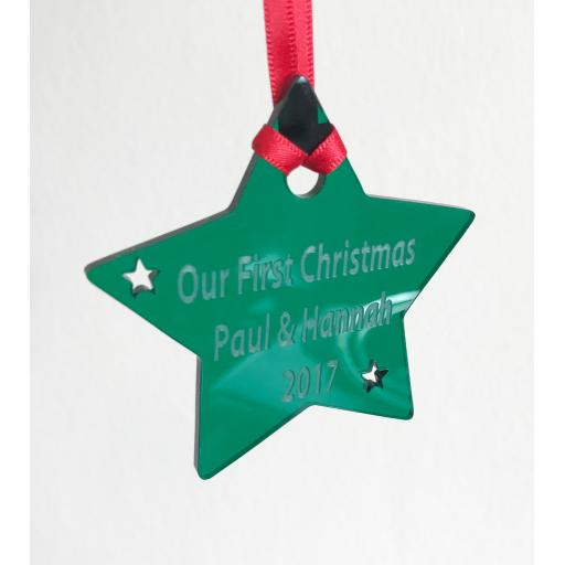 Green Acrylic Hanging Star - Christmas Tree / Home Decor- Free Personalisation