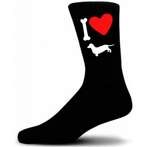 Mens Black Novelty Dachshund Socks- I Love My Dog Socks Luxury Cotton Novelty Socks Adult size UK 5-12 Euro 39-49