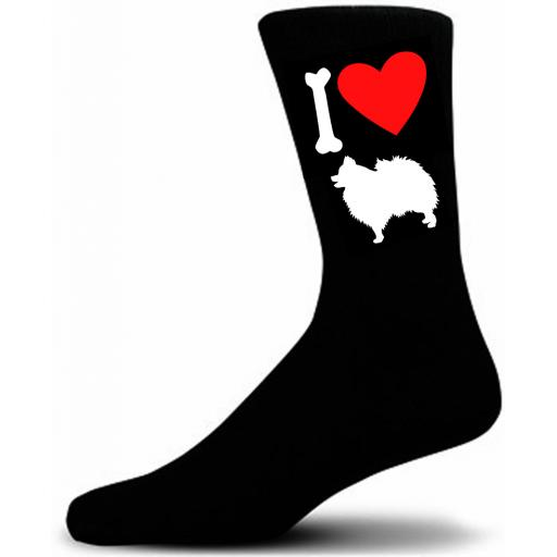 Mens Black Novelty Pomeranian Socks- I Love My Dog Socks Luxury Cotton Novelty Socks Adult size UK 5-12 Euro 39-49
