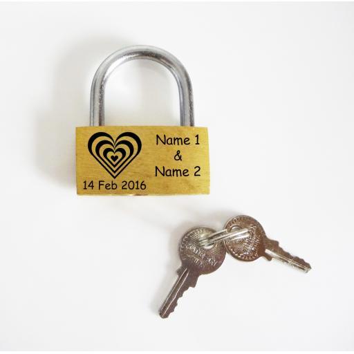 Heart (Zebra) Design 40mm Pad Lock Personalised Engraved Padlock Present, Gift