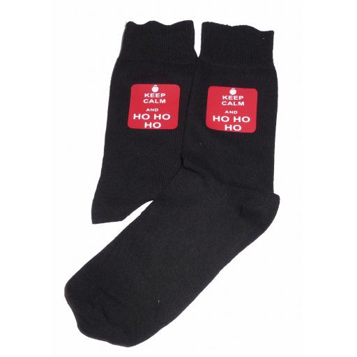 Keep Calm & Ho Ho Ho - Perfect for Christmas/Secret Santa, Great Novelty Socks Luxury Cotton Novelty Socks Adult size UK 6-12 Euro 39-49