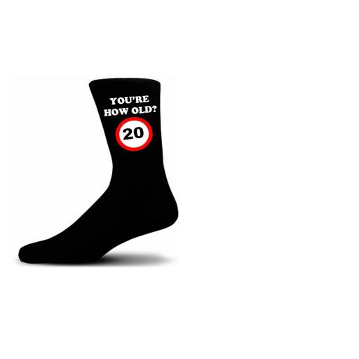 How Old Are You? 20 Speed Sigh Black Novelty Birthday Socks