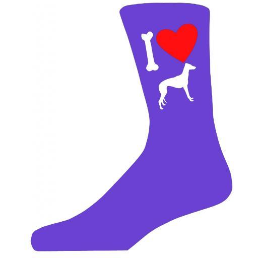 Purple Ladies Novelty Grey Hound Socks- I Love My Dog Socks Luxury Cotton Novelty Socks Adult size UK 5-12 Euro 39-49