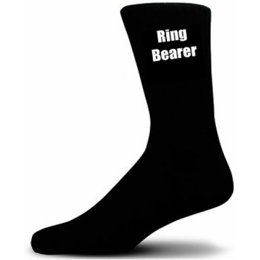 Ring Bearer Socks (Black Socks with White Text) Great Novelty Gifts For The Wedding Party Adult size UK 6-12 Euro 39-49