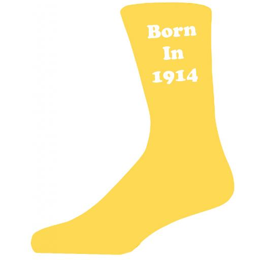 Born In 1914 Yellow Socks, Celebrate Your Birthday A Great Pair Of Novelty Socks For That Special Day