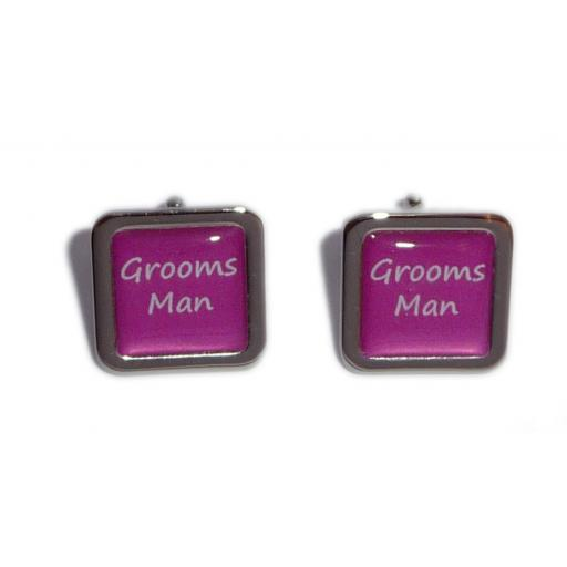 Grooms Man Hot Pink Square Wedding Cufflinks