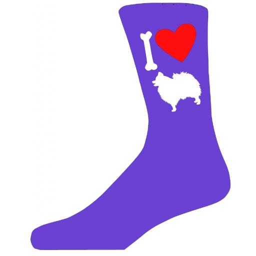 Purple Ladies Novelty Pomeranian Socks- I Love My Dog Socks Luxury Cotton Novelty Socks Adult size UK 5-12 Euro 39-49