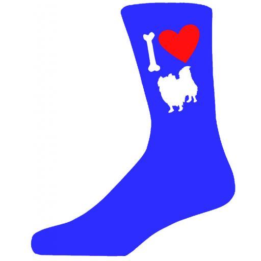 Blue Novelty Pekingese Socks - I Love My Dog Socks