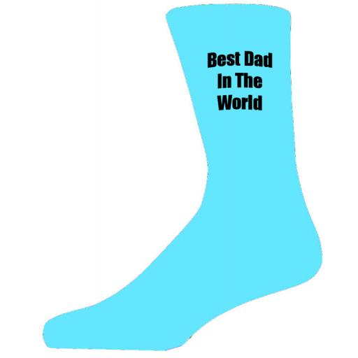 Best Dad in in the World in Black Text on Turquoise Socks, Lovely Birthday Gift Adult size UK 6-12 Ideal for a Christmas, birthday or anytime gift