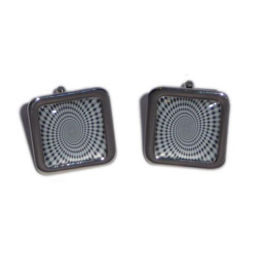 Black & White Spiral Optical Illusion cufflinks