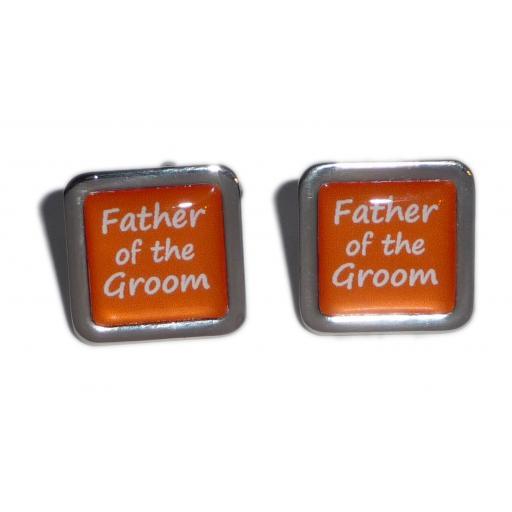 Father of the Groom Orange Square Wedding Cufflinks