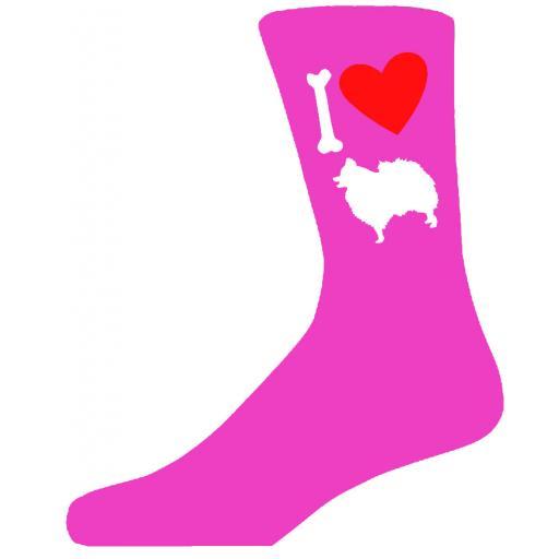 Hot Pink Ladies Novelty Pomeranian Socks- I Love My Dog Socks Luxury Cotton Novelty Socks Adult size UK 5-12 Euro 39-49