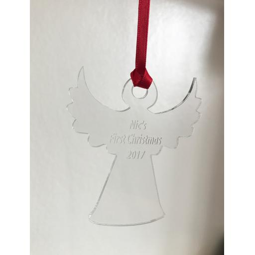 Clear Acrylic Hanging Angel - Christmas Tree / Home Decor- Free Personalisation