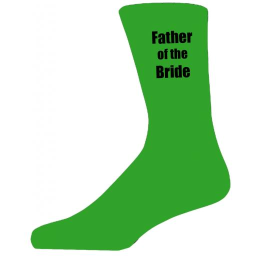 Green Wedding Socks with Black Father of The Bride Title Adult size UK 6-12 Euro 39-49