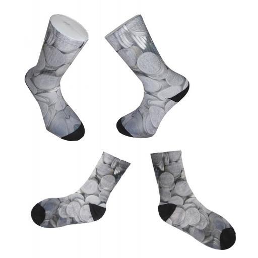 Six Pence Design Novelty Socks - Great Novelty Socks Mens, Ladies Socks (Adult Size 6-12) - Lucky Six Pence Socks