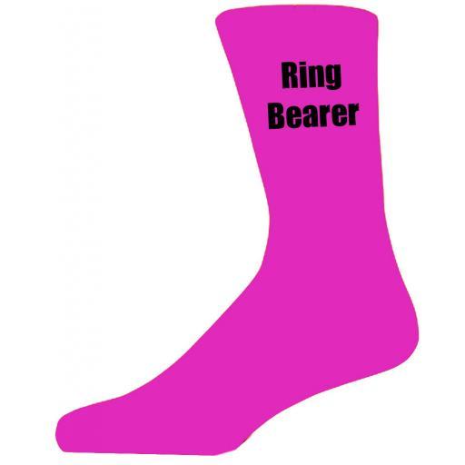 Hot Pink Wedding Socks with Black Ring Bearer Title Adult size UK 6-12 Euro 39-49