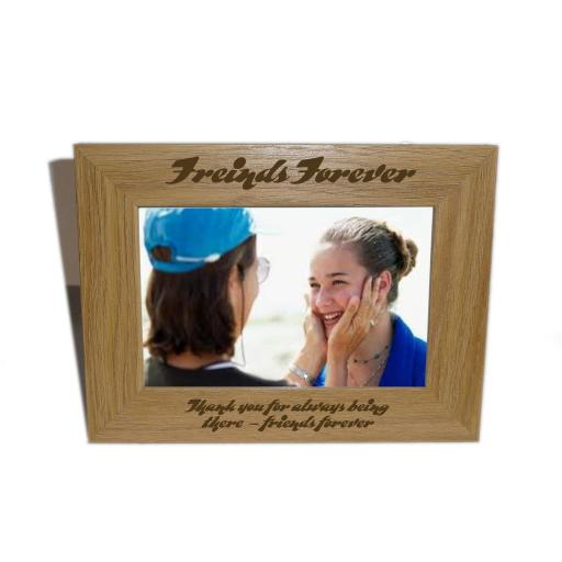 Friends Forever Wooden Photo frame 6 x 4 - Personalise this frame-Free Engraving - Please email glamgifts50@yahoo co uk