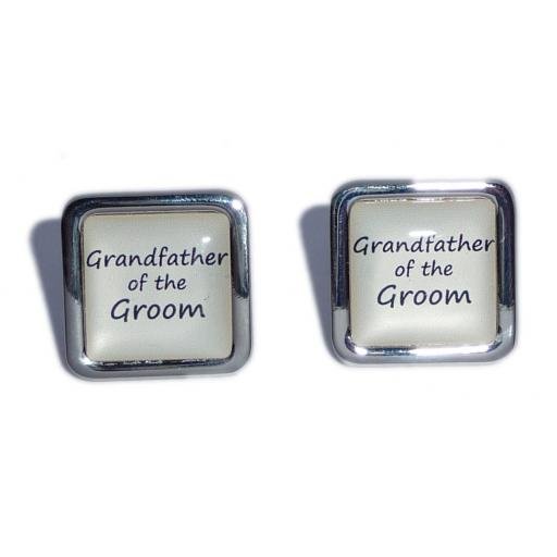 Grandfather of the Groom Ivory Square Wedding Cufflinks