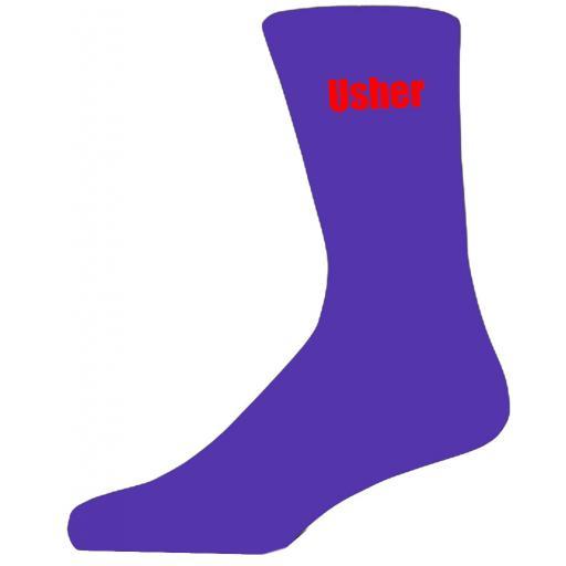 Purple Wedding Socks with Red Usher Title Adult size UK 6-12 Euro 39-49