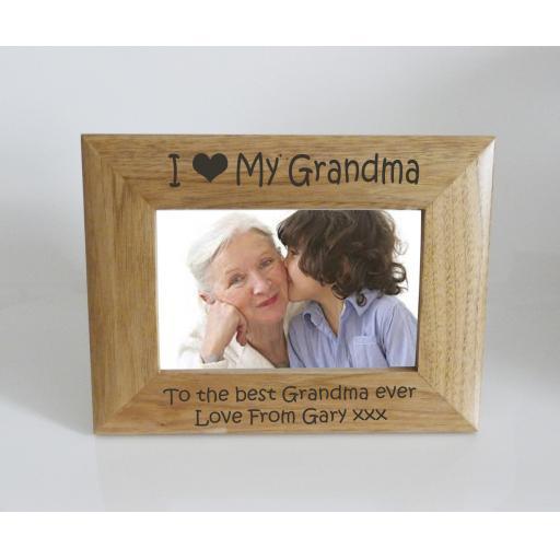 Grandma Photo Frame 6 x 4 - I heart-Love My Grandma 6 x 4 Photo Frame - Free Engraving