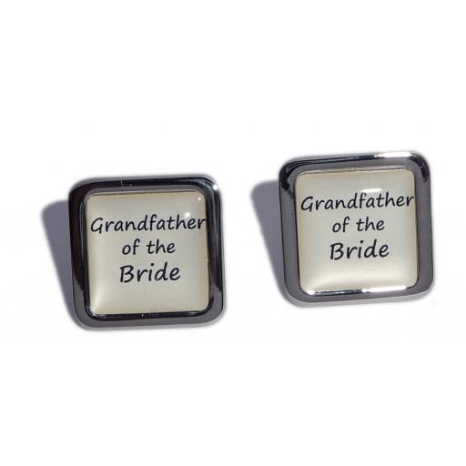 Grandfather of the Bride Ivory Square Wedding Cufflinks