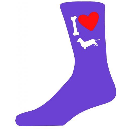 Purple Ladies Novelty Dachshund Socks- I Love My Dog Socks Luxury Cotton Novelty Socks Adult size UK 5-12 Euro 39-49