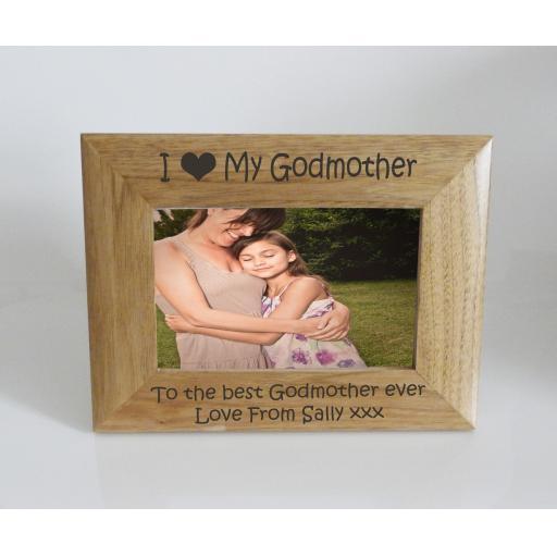 Godmother Photo Frame 6 x 4 - I heart-Love My Godmother 6 x 4 Photo Frame - Free Engraving