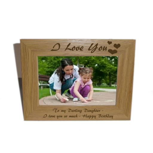 I Love You Wooden Photo frame 6 x 4 - Personalise this frame-Free Engraving - Please email glamgifts50@yahoo co uk