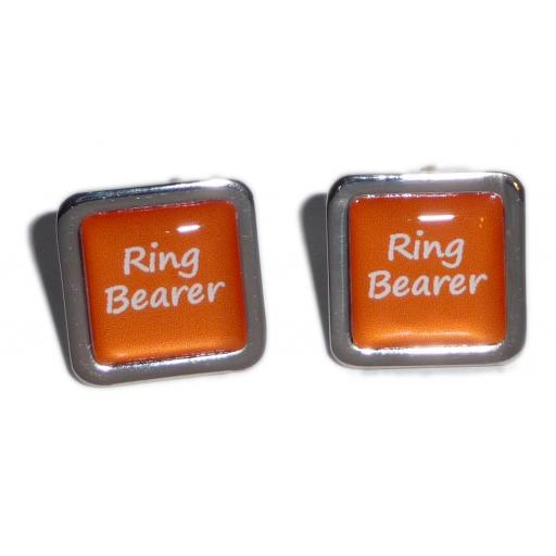 Ring Bearer Orange Square Wedding Cufflinks