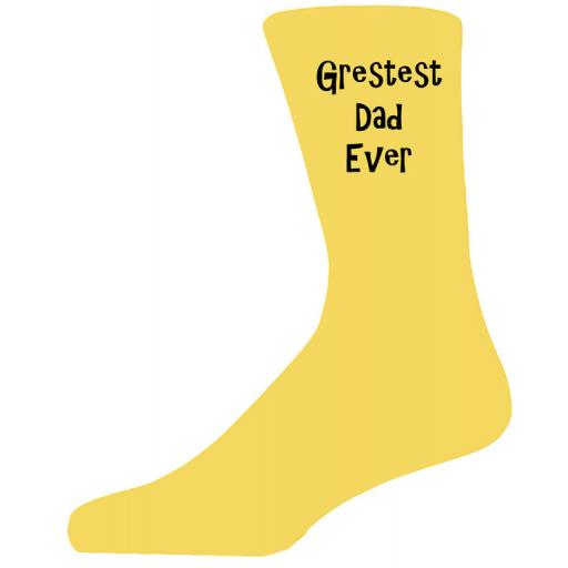 Greatest Dad Ever in Black Text on Yellow Socks, Lovely Birthday Gift Adult size UK 6-12 Ideal for a Christmas, birthday or anytime gift