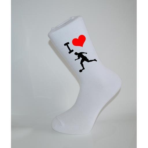 I Love Soccer/Football White Socks, Great Socks for the sportsman, Adults 6-12
