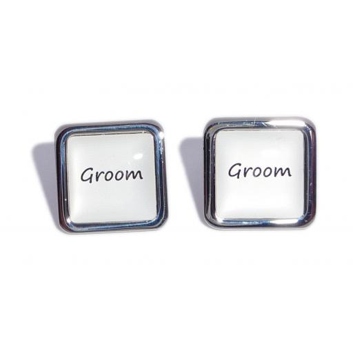 Groom White Square Wedding Cufflinks