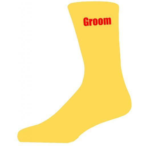 Yellow Wedding Socks with Red Groom Title Adult size UK 6-12 Euro 39-49