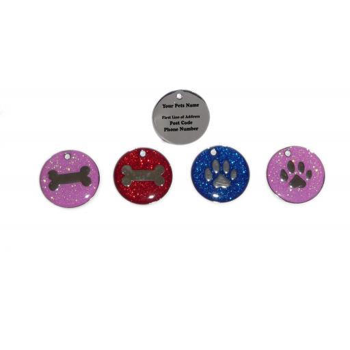 Pink Glitter Bone Pet ID Dog Tag 25mm Disc