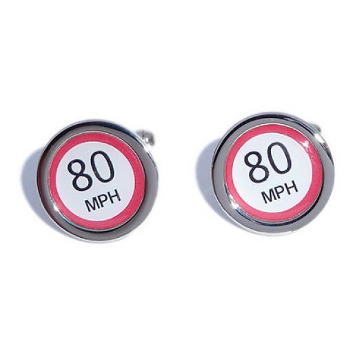 80 MPH Speed Sign cufflinks