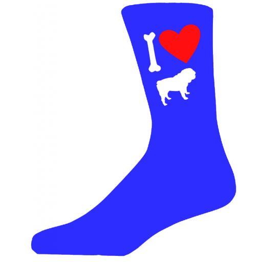 Blue Novelty Bulldog Socks - I Love My Dog Socks