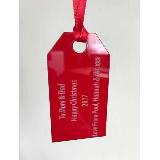 Red Acrylic Hanging Gift Tag - Christmas Tree / Home Decor- Free Personal