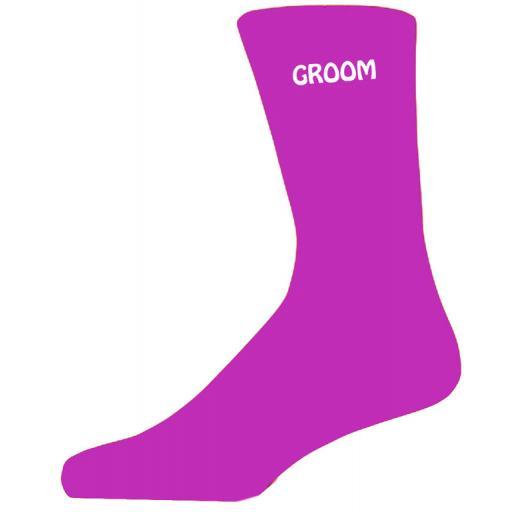 Simple Design Hot Pink Luxury Cotton Rich Wedding Socks - Groom