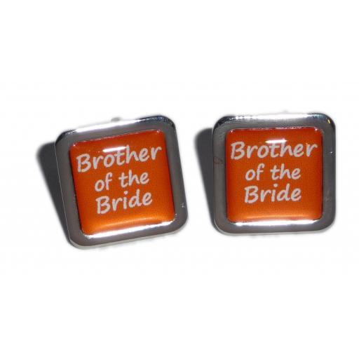 Brother of the Bride Orange Square Wedding Cufflinks